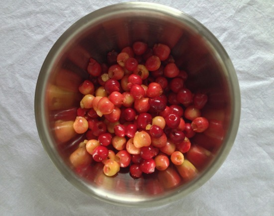 red and white cherries