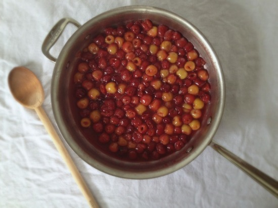 Sauteed cherries