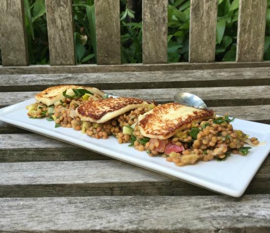 lentils and halloumi